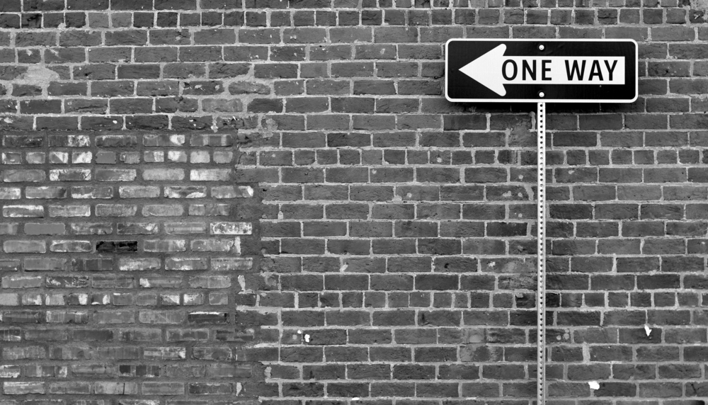 Brick One Way Sign