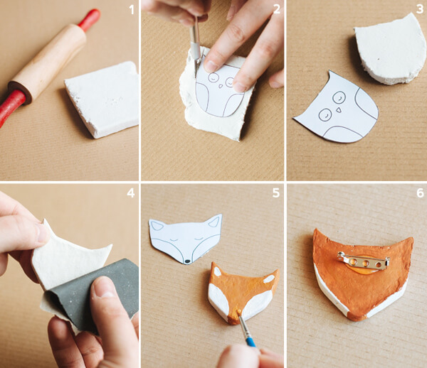 clay animal pins