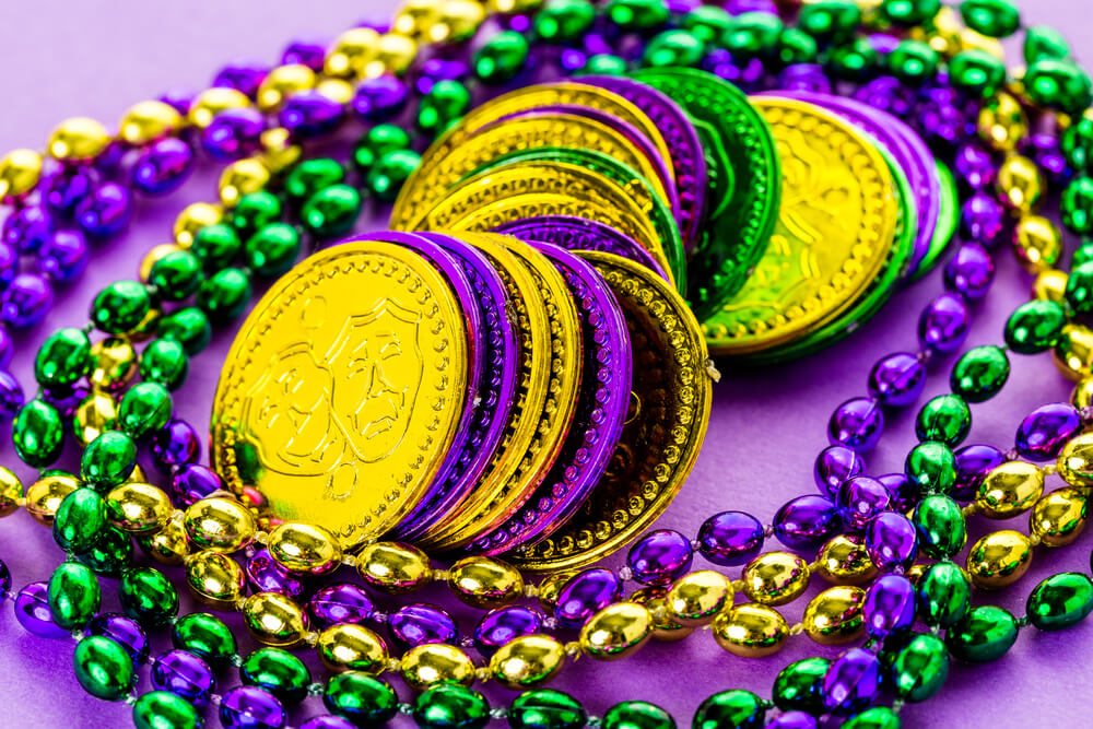 coins and beads mardi gras