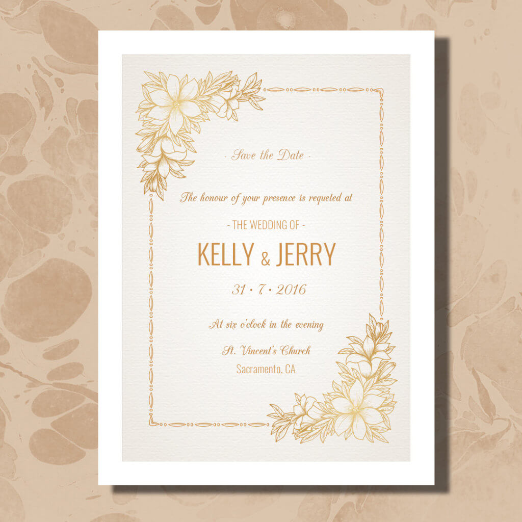 save the date magnet with gold background