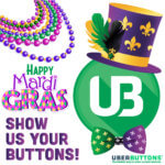 "graphic with UB logo and mardi gras beads ""show us your buttons"""
