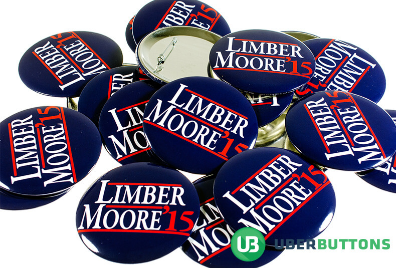 limber moore mid term election buttons. blue background with white names and red underline.