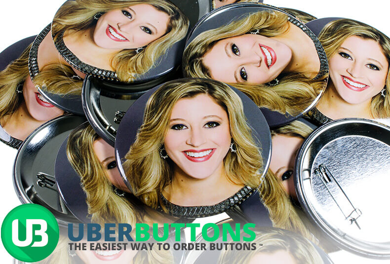 smiling blonde women face custom button