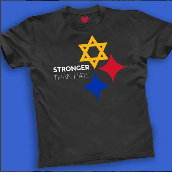 Tree of Life Synagogue shooting stronger than hate tshirt, black with star of david and two stars red and blue