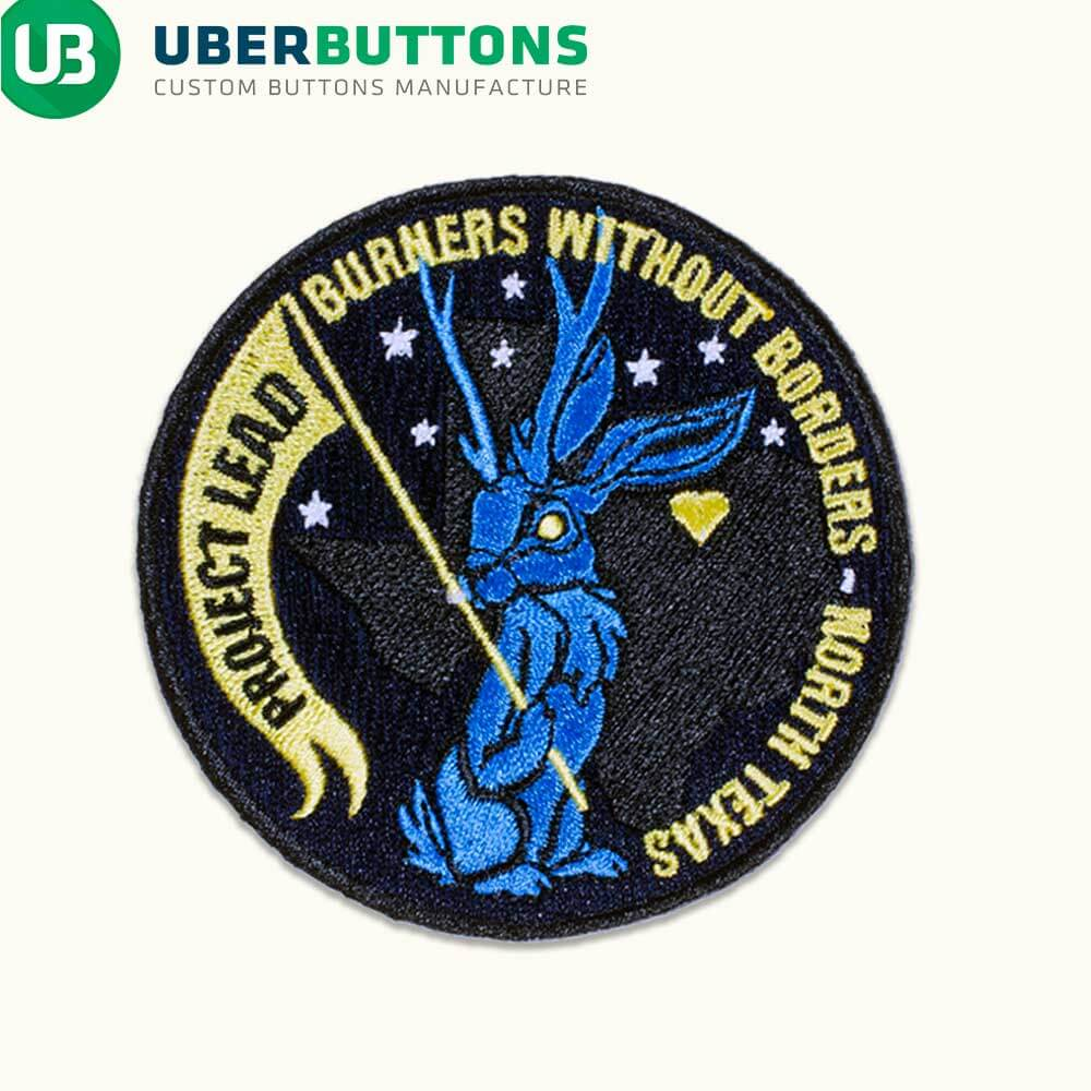 custom made patch hidden offer jackalope holding banner burners without borders on a cream background