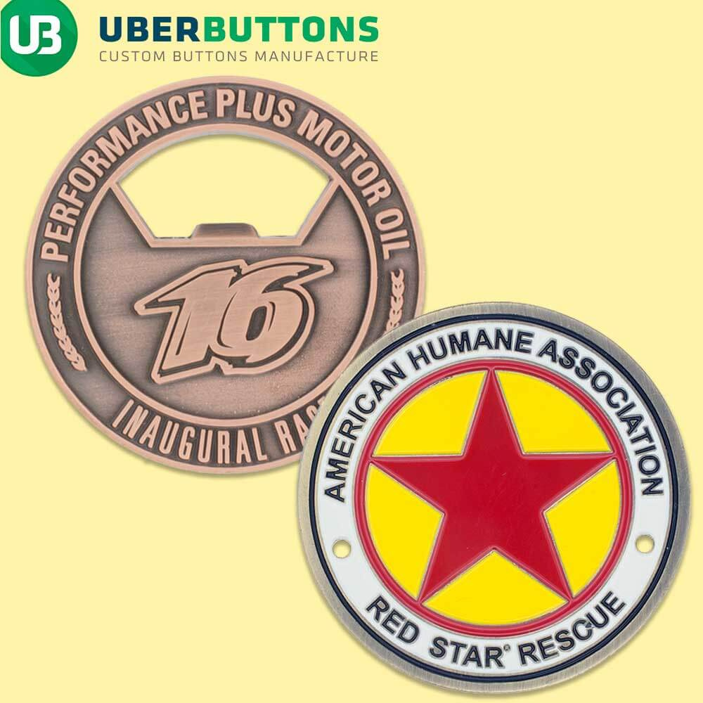 custom coins hidden offers die cast coin made into a bottle opener and american humane association coin on yellow background