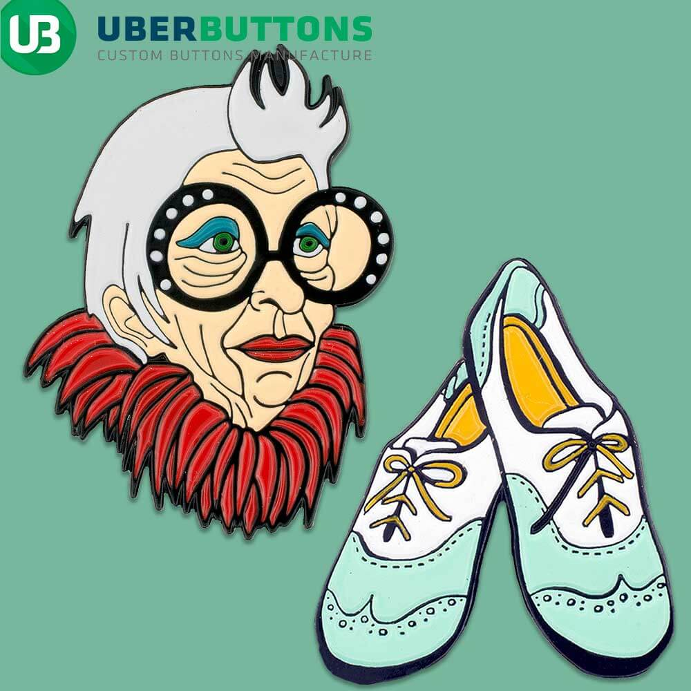 enamel pins hidden offer old woman wearing a boa and some dancing shoes on a green background